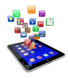 Tablet pc apps icons. Tablet pc computer with software apps icons . Media technology concept.  3d image Royalty Free Stock Photography