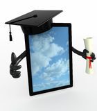 Tablet pc with arms, Graduation Cap and Diploma Stock Photos