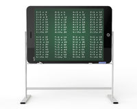 Tablet PC as blackboard stand with multiplication table. E-learning concept. Tablet PC as blackboard stand with multiplication table on a white background Royalty Free Stock Image