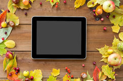 Tablet pc with autumn leaves, fruits and berries Royalty Free Stock Image