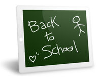 Tablet pc back to school. Tablet pc written like a board royalty free illustration