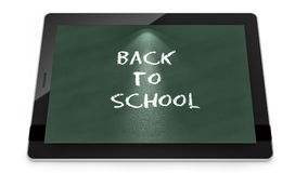 Tablet PC with Back to School text. Render of a tablet PC with Back to School text, isolated on white Royalty Free Stock Image