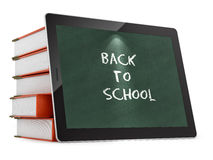 Tablet PC with Back to School text. Render of a tablet PC with Back to School text, isolated on white Stock Photo
