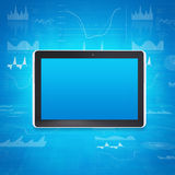 Tablet PC on the background of graphs and figures Stock Images