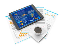 Tablet PC biznres site. Illustration on the theme of business. Tablet PC biznres site, a coffee mug and business documents Stock Photography