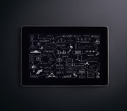 A tablet pc on a black background Royalty Free Stock Images