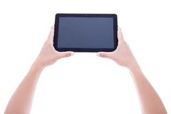 Tablet pc with blank screen in male hands isolated on white Royalty Free Stock Images