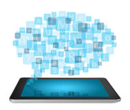 Tablet PC with blogging concept Stock Photo