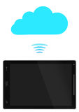 Tablet PC with blue cloud Stock Image