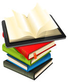 Tablet PC On A Book Pile. Illustration of a tablet pc e-book set upon a book stack Stock Images