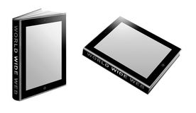 Tablet PC books. Conceptual illustration of tablet PC books with world wide web on side, white background Royalty Free Stock Images