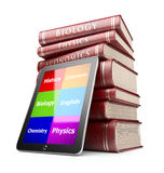 Tablet PC with books. Education concept. 3D Icon Stock Images