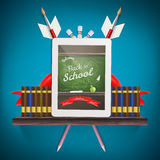 Tablet pc with books. EPS 10 Stock Images