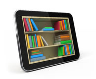 Tablet pc with bookshelf Royalty Free Stock Photography