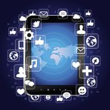 Tablet pc with bright social media icons Royalty Free Stock Images
