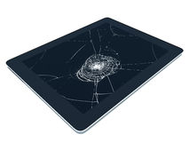 Tablet pc with broken screen.  Stock Photos