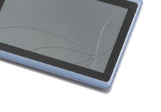 Tablet pc with broken screen Royalty Free Stock Photos