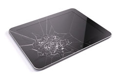 Tablet pc with broken screen Royalty Free Stock Images
