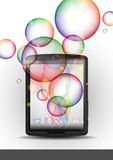Tablet Pc With Bubble Background. Stock Photo