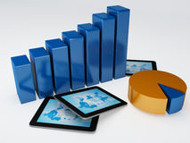 Tablet pc and business graph Royalty Free Stock Photos