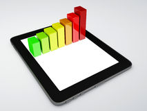 Tablet pc and business graph on the screen. Business graph on the screen 3d illustration.  white Royalty Free Stock Photos