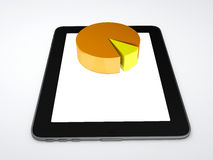 Tablet pc and business graph on the screen. Business graph on the screen 3d illustration.  white Royalty Free Stock Photo