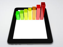 Tablet pc and business graph on the screen. Business graph on the screen 3d illustration.  white Stock Photo