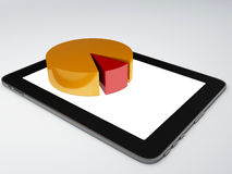 Tablet pc and business graph on the screen. Business graph on the screen 3d illustration.  white Royalty Free Stock Image