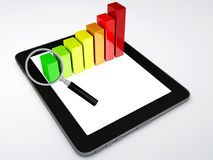 Tablet pc and business graph on the screen Royalty Free Stock Photos