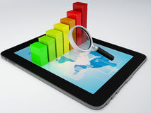 Tablet pc and business graph on the screen Stock Photo