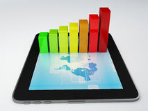 Tablet pc and business graph on the screen Stock Photos