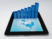 Tablet pc and business graph on the screen Royalty Free Stock Image