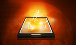 Tablet PC with  business icons Stock Photos