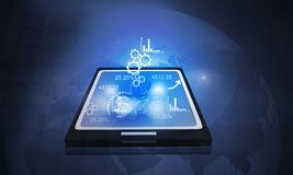Tablet PC with  business icons Stock Photography