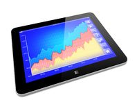Tablet PC. Business improvement and finance success analyzing concept. Tablet PC with growth diagram on a screen. 3d image Royalty Free Stock Photos