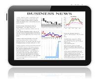 Tablet pc with business news on screen. Royalty Free Stock Photography