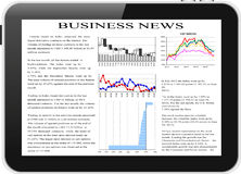 Tablet pc with business news on screen. Stock Photos