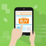 Tablet pc buy button touch finger line store Stock Images