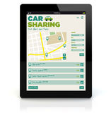 Tablet pc car sharing Royalty Free Stock Photos