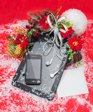 Tablet PC and cell phone best Christmas gifts. Stock Photos