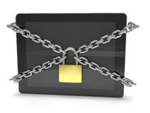 Tablet PC with chains and lock Royalty Free Stock Images