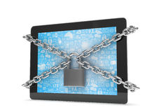 Tablet PC with chains and lock Stock Photography