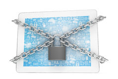 Tablet PC with chains and lock Stock Photos