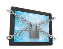 Tablet PC with chains and lock isolated on white Royalty Free Stock Photography