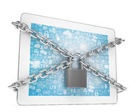 Tablet PC with chains and lock isolated on white Royalty Free Stock Image