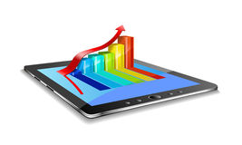 Tablet pc and charts. Royalty Free Stock Images