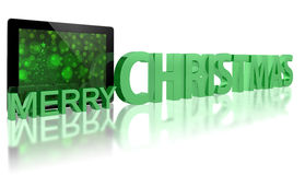 Tablet PC with Christmas Tree stock illustration