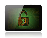 Tablet PC with circuit background and lock Royalty Free Stock Photography