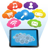 Tablet pc cloud and applications on a white Stock Photos
