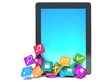 Tablet pc with cloud of colorful application icons Stock Photo